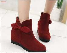 Fashion New Style Winter Women Boots Bow Knot Wedges Boots Designer Shoes Woman Increasing Booties Ladies Black Boot(China)