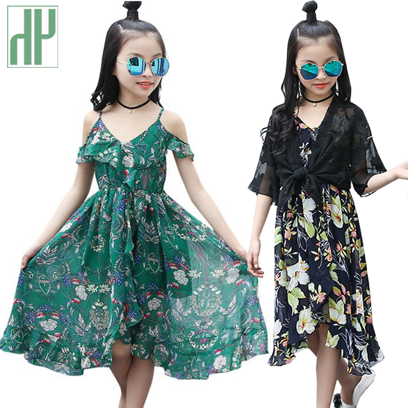 Chiffon Bohemia Teenager Costume Children Attire For Ladies Summer season Gown Sleeveless Get together Child Ladies Flower Gown 7 10 14 Years