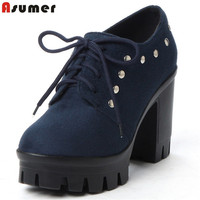 ASUMER flock high heels shoes lace up platform spring autumn shoes fashion women pumps classic rivet lady prom shoes