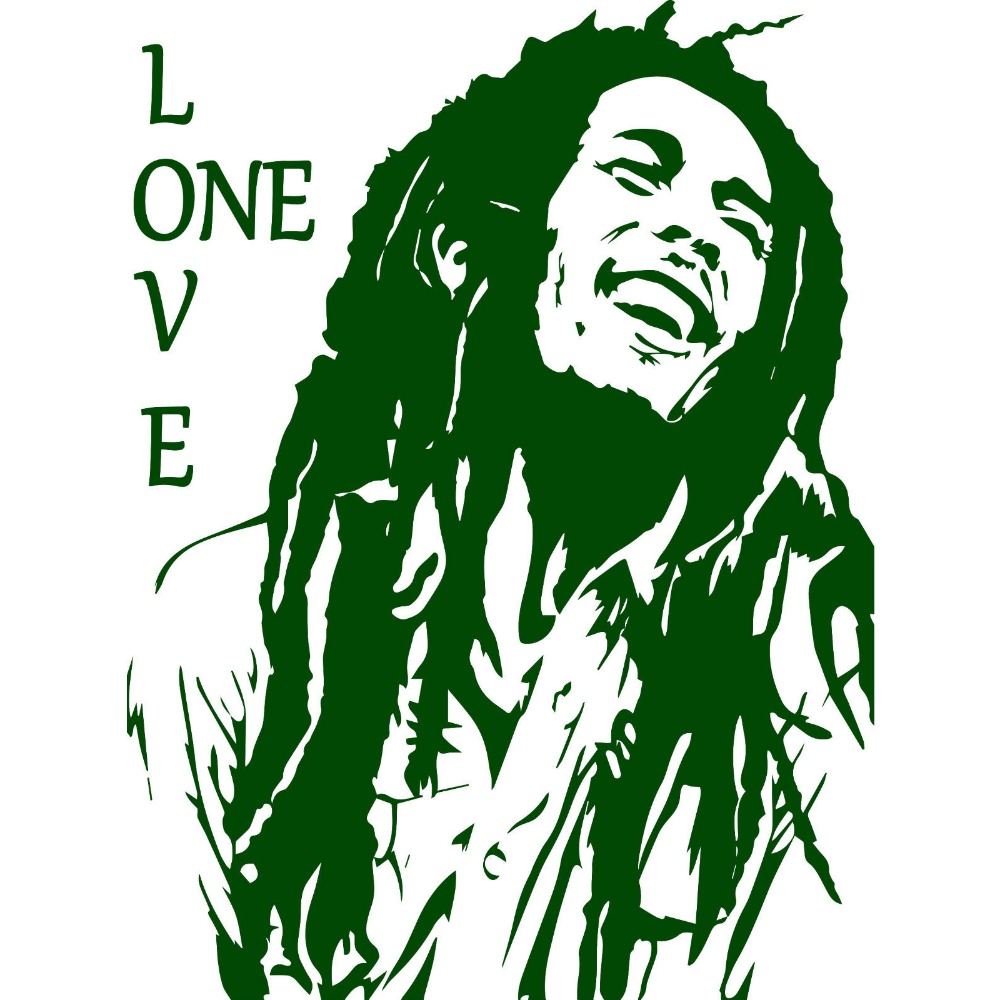 Bob marley reggae rasta jamaica large vinyl transfer stencil decal sticker wall art home room decorative s m l 80 colors in wall stickers from home garden