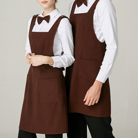 Long Brown Polyester Apron Barista Baker Restaurant Hotel Waiter Waitress Catering Uniform Bistro Bartender Diner Work Wear D80
