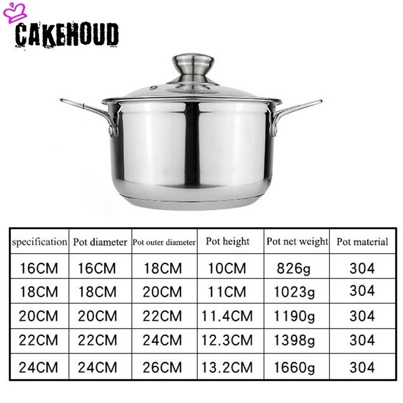 CAKEHOUD Thick Stainless Steel Double Bottom Steamer Noodle Pot Kitchen Multi function Cookware Food Grade Soup Pot CookingTools in Soup Stock Pots from Home Garden