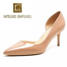 KATELVADI Big Size 34-42 Women Pumps 2019 New Fashion 6.5CM High Heels Nude Patent PU Thin Heel Classic Side Opening Shoes K-364