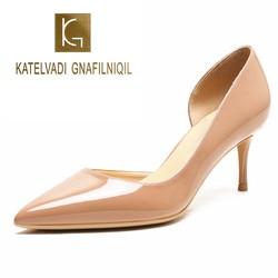 KATELVADI-zapatos de tacón alto para mujer, tacones desnudos de charol, tacón Delgado, apertura lateral clásica, K-364, talla grande 34-42, 2020