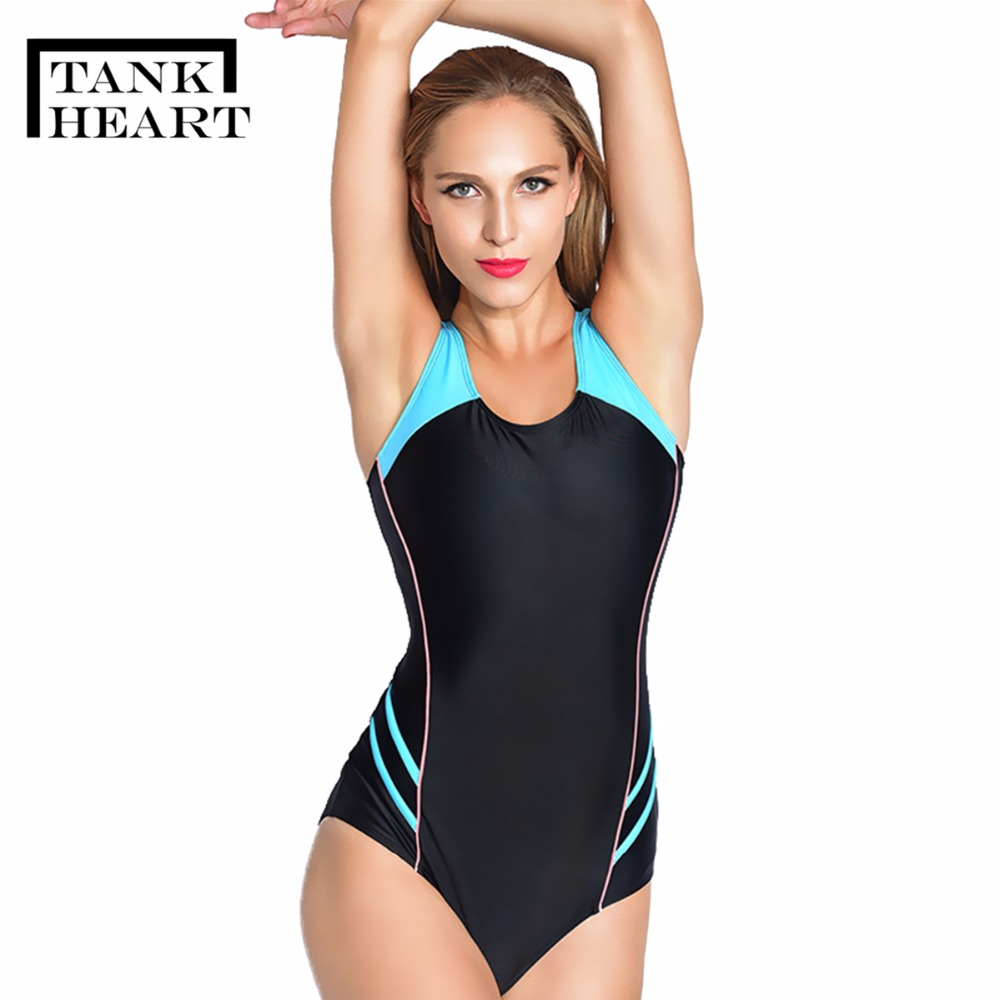 Tank Heart Black Plus size Swimsuit One Piece Sports Swimwear Women Surf Professional One-Piece Suits Plavky Bathing Suit Women