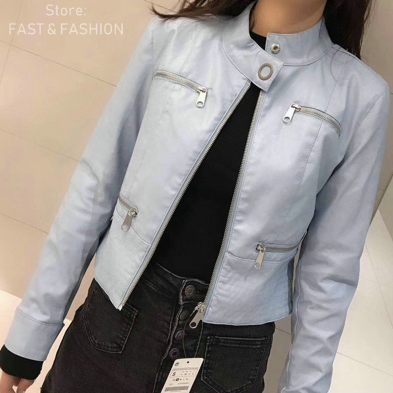 2019 New Women Casual Soft Faux   Leather   Jackets Lady PU Zippers Cute Spring Autumn Winter Outerwear Yellow Blue Black Beige Coat