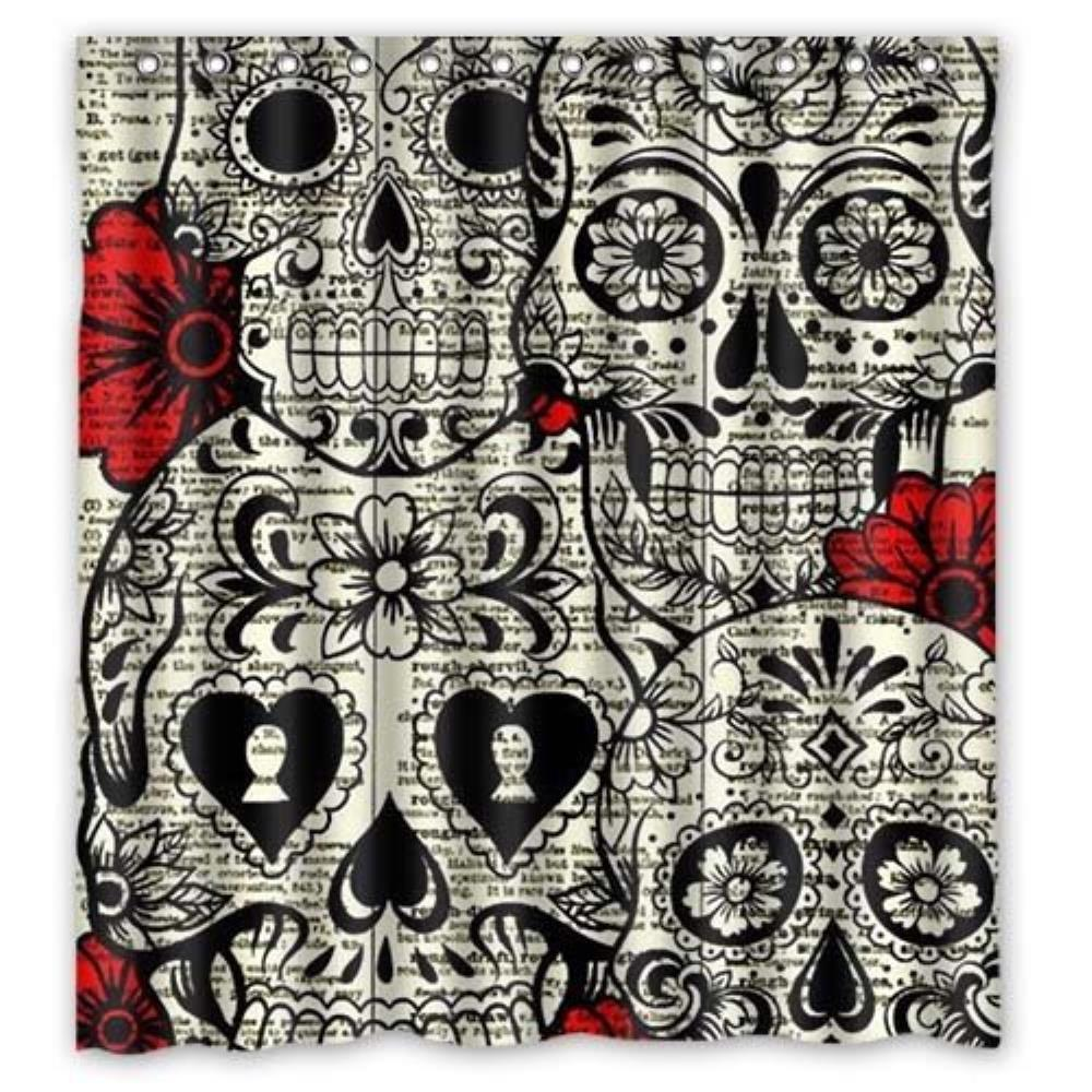 Bloomy Summer Specific Skull print Custom Shower Curtain Pattern Waterproof Fabric Shower Curtain For Bathroom 66*72inch