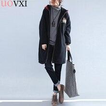 UOVXI Women Plus Size Jacket & Coat Winter Pattern Print Hoodies Thickening Fashion Loose Outerwear Casual Female Black Coats