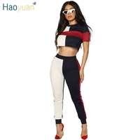 HAOYUAN Sexy 2 Piece Set Women Top And Pants Suits 2018 Summer Outfits For Woman Fashion