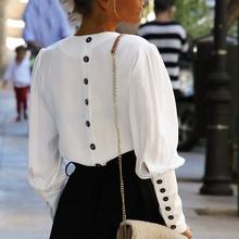 Dekolt w serek kobiety bluzka koszule Puff guzik na rękawie biała bluzka letnia jesień koszula damska Top kobieta szyfon do biura bluzka bluzki tanie tanio Faroonee Poliester REGULAR Stałe Pełna Latarnia rękaw V-neck Przycisk Suknem Na co dzień