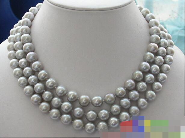 FREE SHIPPING>>@@@ 3570 3ROW GRAY ROUND FRESHWATER PEARL NECKLACE цена и фото