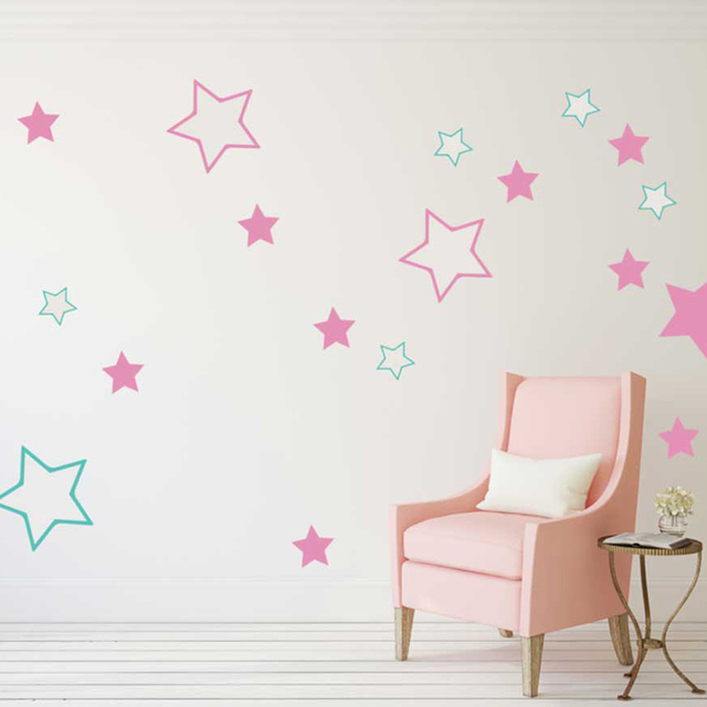 Baby Nursery Stars Wall Stickers Kids Room Stars Wall Decals DIY Easy Wall  Decal Children Room