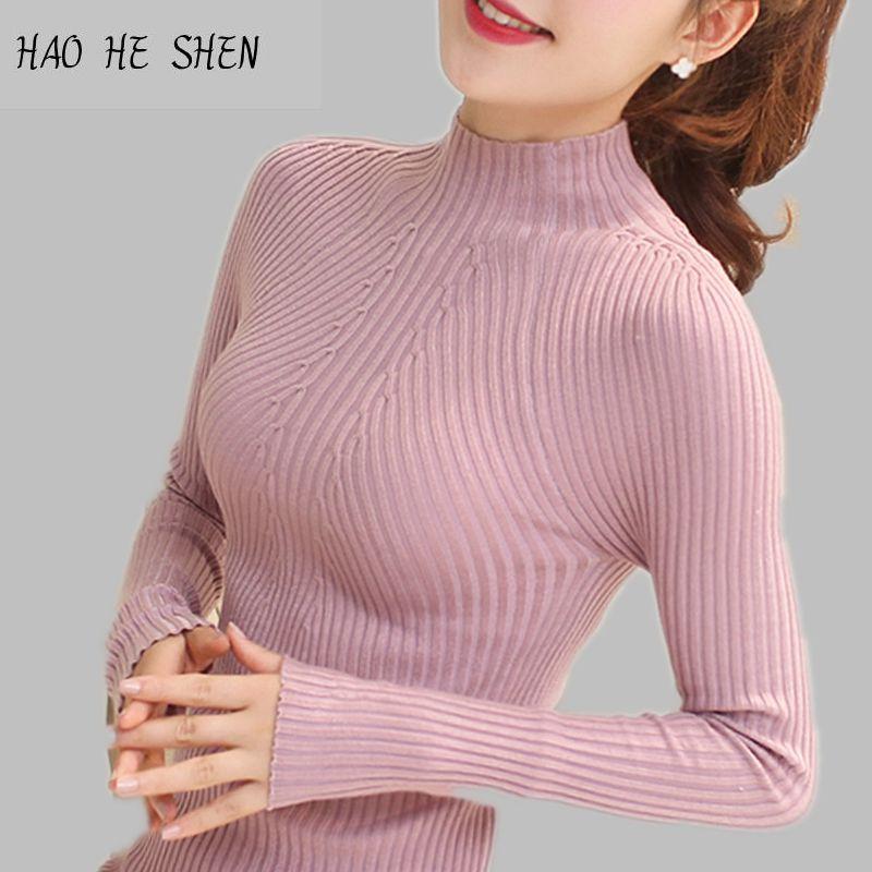 Nouveau 2018 Mode Printemps Femmes chandail haute élastique Solide pull À Col Roulé femmes mince sexy serré Basant Tricoté Pulls