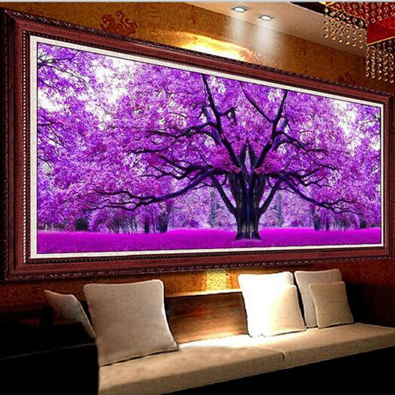 Purple Sakura Tree Landscape Diamond Painting DIY 5D Full Drill Diamond Embroidery Diamond Mosaic Cross Stitch