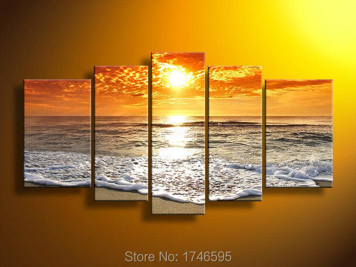 Aliexpress.com : Buy Big size living room wall decor home decor Wall Art  Picture printed Orange sunset wave seascape oil Painting Canvas art /PT0206  from ...