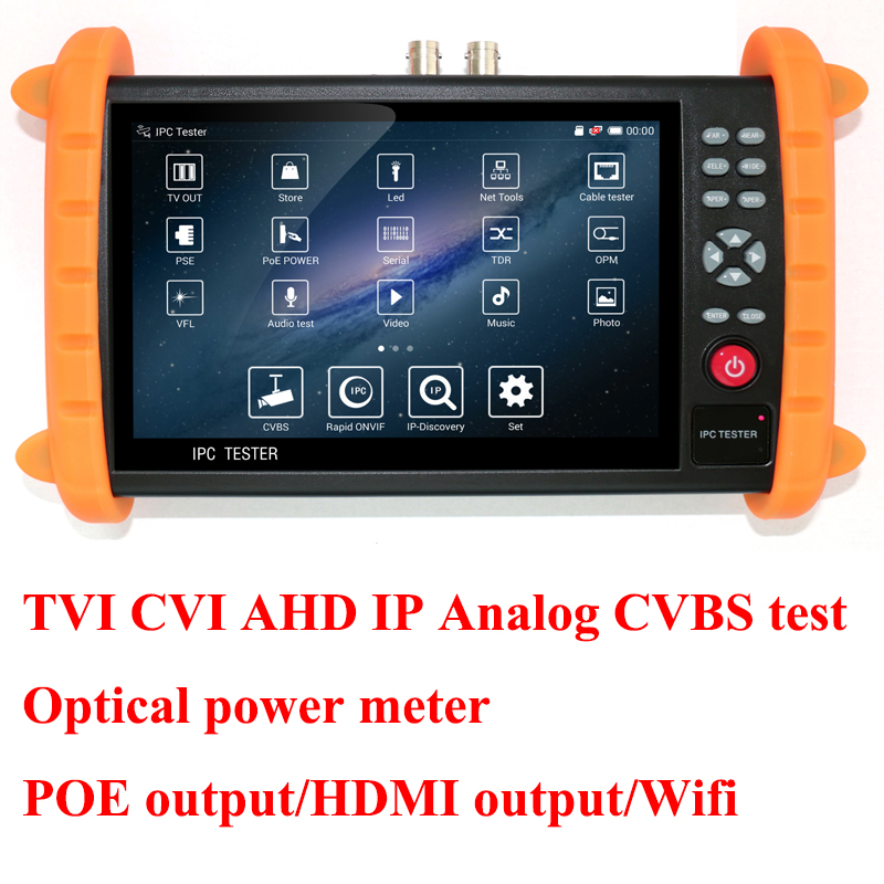 7 inch TVI CVI AHD IP camera tester Analog CVBS CCTV tester with optical power meter Wifi POE ONVIF ipc9800 7 inch touch screen cctv tester ip analog ahd cvi tvi tester poe power output hdmi out built in wifi ip camera tester