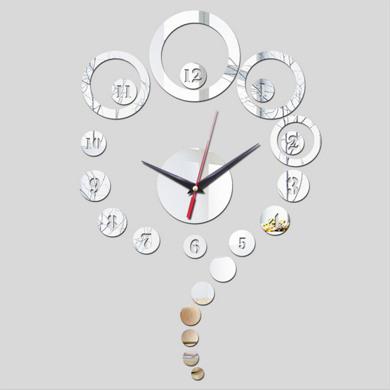 2018 new hot wall clock home decor acrylic mirror wall stickers diy clocks modern design direct selling watches free shipping