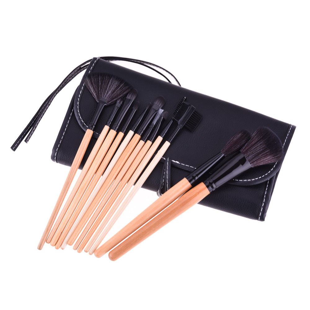 Top Quality!!! Professional 12 pcs Makeup Brush Set tools Make-up Toiletry Kit New Brand Make Up Brush Set Case Cosmetic brush hot sale 2016 soft beauty woolen 24 pcs cosmetic kit makeup brush set tools make up make up brush with case drop shipping 31