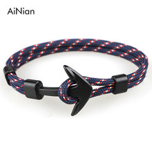 AiNian New Fashion Black Anchor Bracelets Men Charm 550 Survival Rope Chain Paracord Bracelet Male Wrap Metal Sport Hooks(China)