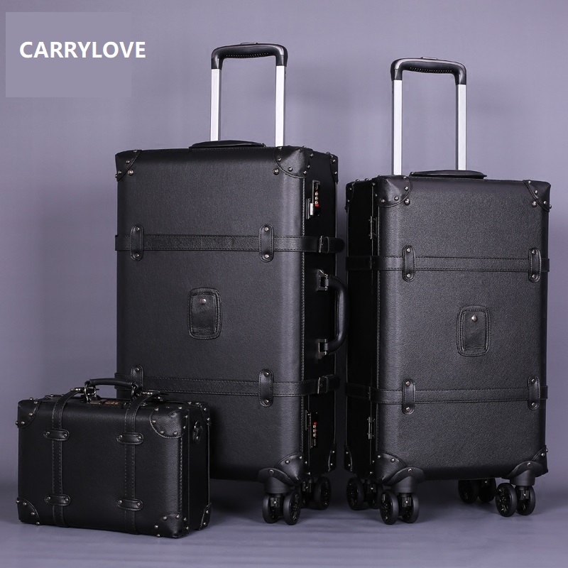 CARRYLOVE high quality series 20 22 24inch PU Handbag and Rolling Luggage Vintage Commerce Travel Suitcase