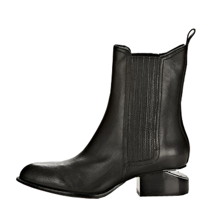 classic womens motorcycle boots cut out stacked metal heel