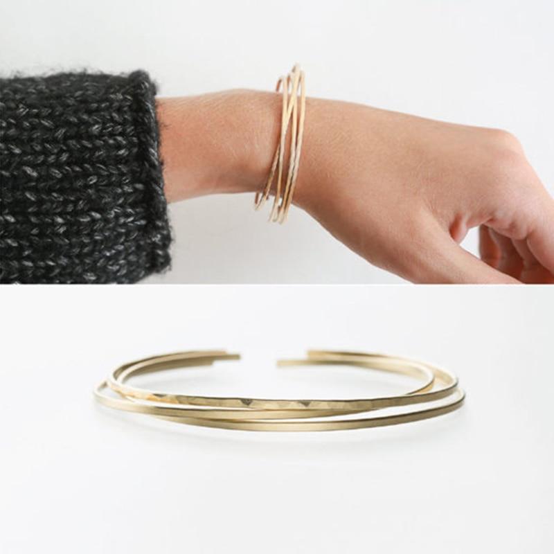 2PCS Hammered Bracelet Handmade Gold Filled Jewelry Vintage Party Tobilleras Pulsera Para Tobillo Bangles Women Bracelets