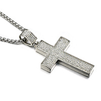 HIP Hop Silver Plated Titanium Stainless Steel 7 Row Iced Out Micro Pave Crystal Cross Pendants