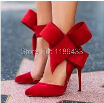 New fashion women bow tie pumps pointy high heel dress shoes suede leather pointy gladiator sandals dress shoes