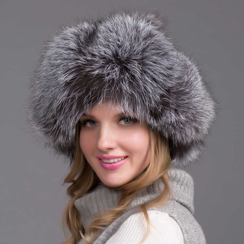 72a2dc85bbe Russia Hot Winter Fashion Item Raccoon   Fox Fur Leather Hat With Winter  Oars Women s Thick