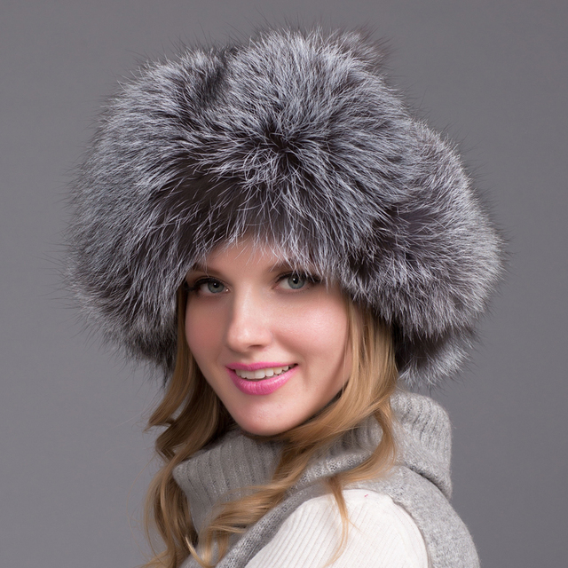 Russia Hot Winter Fashion Item Raccoon & Fox Fur Leather Hat With Winter Oars Women's Thick And Warm Winter Hat