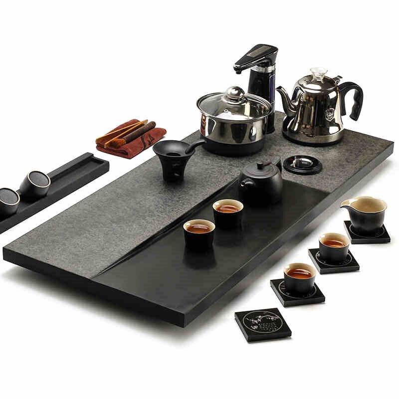 Ensemble de thé complet chinois kungfu plateau à thé en bois massif porcelaine théière soupière tasses à thé chine céramique soupière table en bois