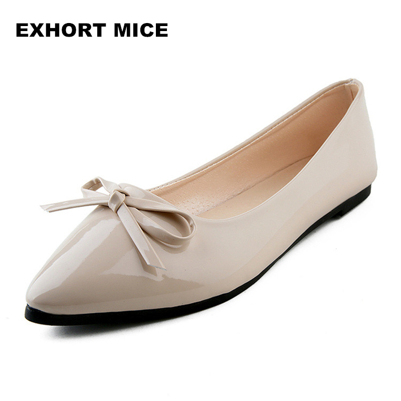 2018 PU patent leather shoes woman single shoes shallow round tow spring autumn ballet flats shoes contracted Butterfly-knot цена 2017