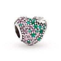 2019 Garden Gleaming Lucky Four Leaf Clover Heart Charm Fits Pandora Bracelets Charms Silver 925 Original DIY CZ Beads Jewelry.