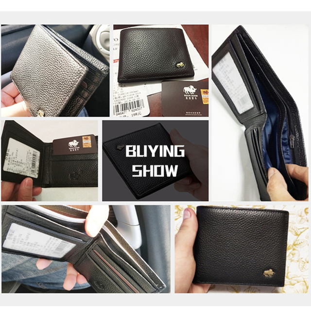 BISON DENIM Leather Men Wallet Brand Luxury Leather Wallets Office Male Wallet Mature Man Bifold Wallet Small Purse n4470-3