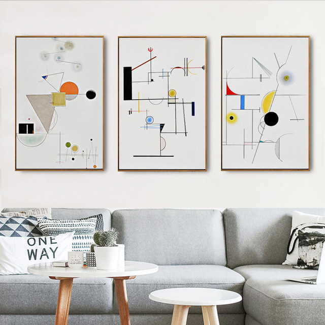 Aliexpress Com Buy Haochu Modern Maths Art Musical Color Line Circle Geometric Canvas Painting Wall Picture For Living Room Office Decor From