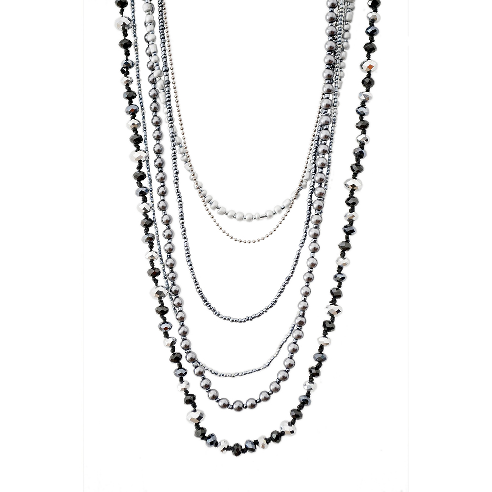 Multilayer Long Necklace for Women Fashion Jewelry Glass