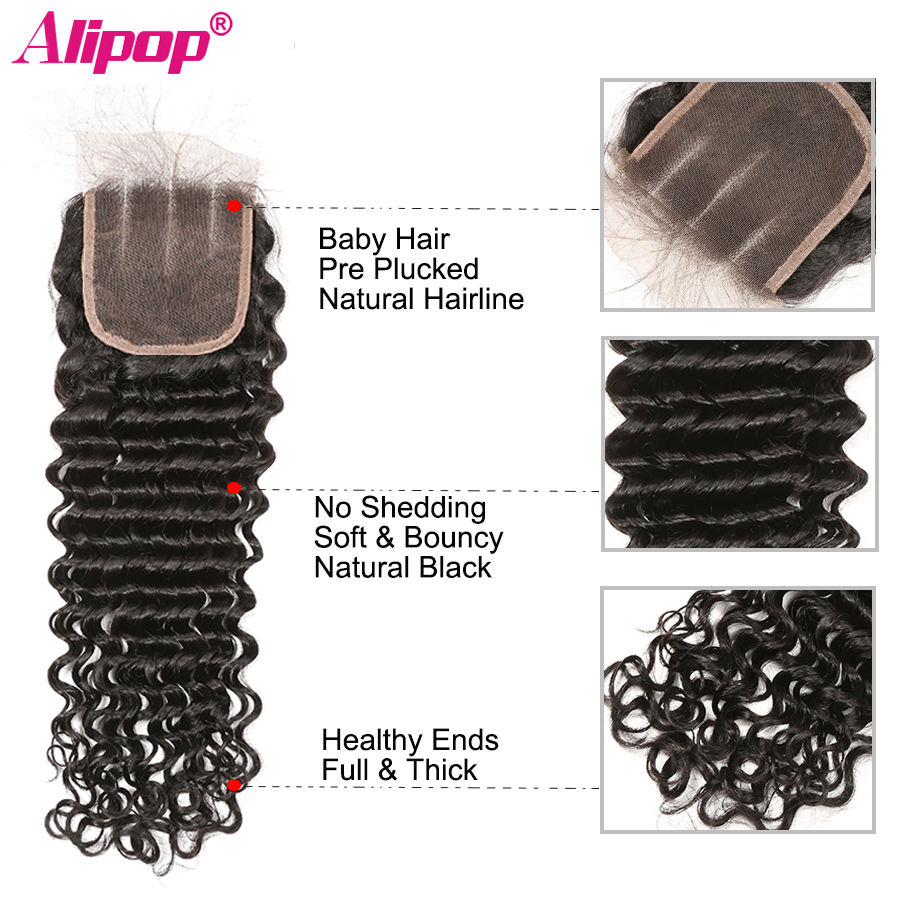 5x5 Closure Brazilian Deep Wave Lace Closure Free Middle Three Part Pre plucked With Baby Hair Swiss Lace Remy Human Hair ALIPOP (6)