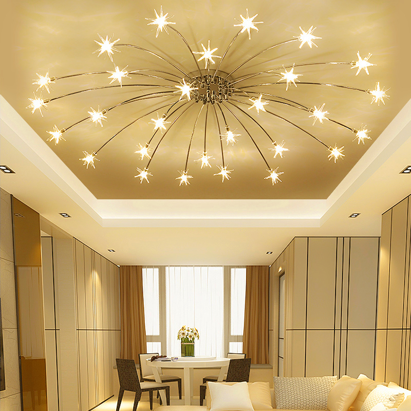 Modern minimalist led living room ceiling lamps bedroom ceiling lights creative starry sky restaurant fixtures Ceiling lighting creative star moon lampshade ceiling light 85 265v 24w led child baby room ceiling lamps foyer bedroom decoration lights