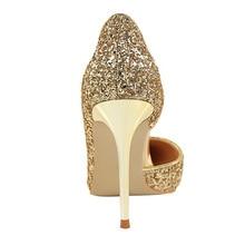 Women Pumps Bling High Heels Women Pumps Glitter High Heel Shoes Woman Sexy Wedding Party Shoes Gold Silver