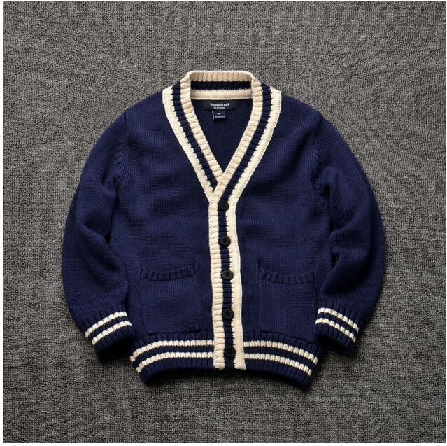 81942 Wholesale 2016 Autumn Baby Boys Sweaters Solid Blue Casual Boys Cardigans V-Neck Patchwork Children Clothes Supplier Lots