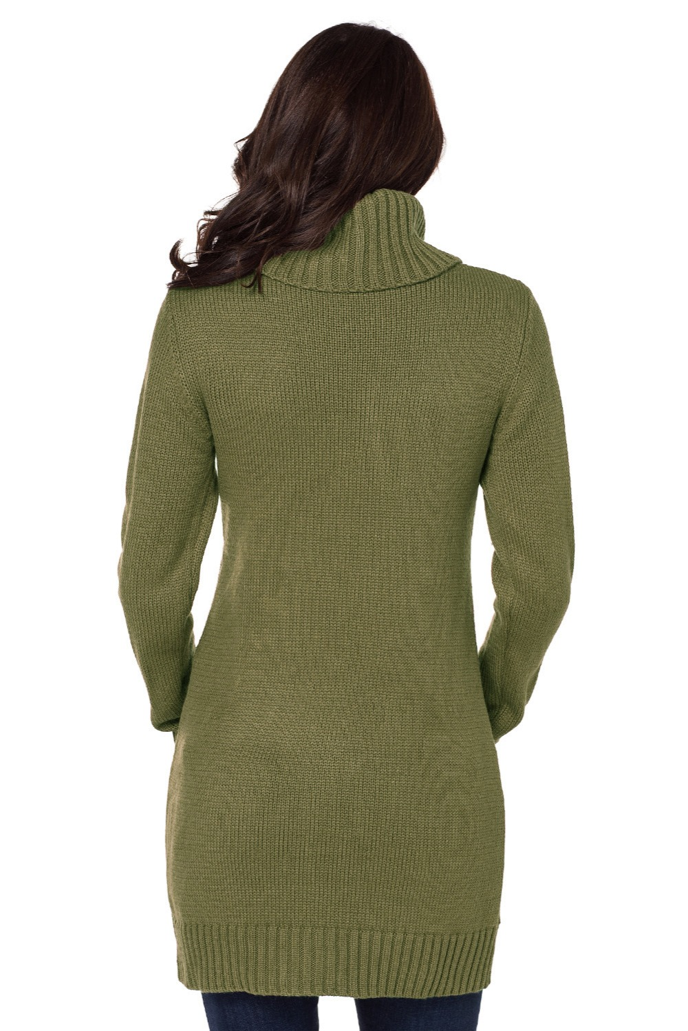 Olive-Cowl-Neck-Cable-Knit-Sweater-Dress-LC27836-9-2
