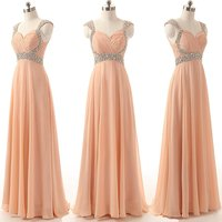 Elegant Simple Evening Dresses 2017 Sweetheart Crystal Beaded Chiffon Women Pageant Gown For Formal Party Gown