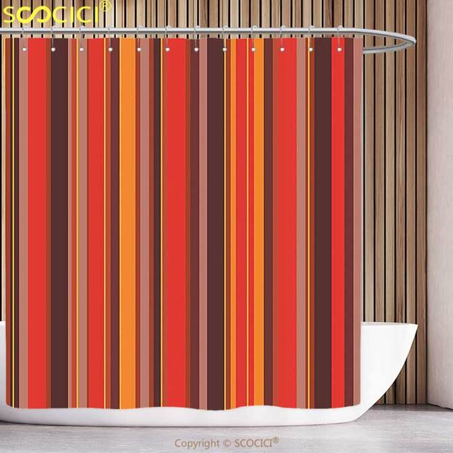 Decorative Shower Curtain Geometric Vertical Tiny And Thick Lines Striped  Retro Style Graphic Pattern Artwork Red