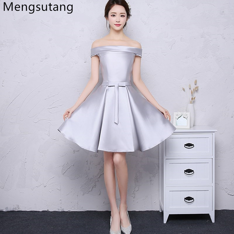 Robe De Soiree Champagne Short   Evening     Dress   2019 Elegant Satin Party Ball Gown Sexy Banquet vestido de festa prom   dresses