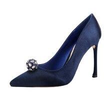 Mode Schuhe Frau High Heels Blau Sexy Party Kleid Schuhe Frauen Kristall Hochzeit Schuhe Mit Absätzen Pumpen Zapatos Mujer FS-0146