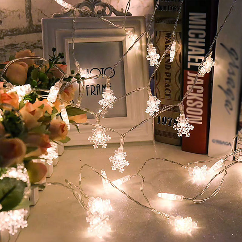 Christmas Lights Outdoor Decoration 2M 20LED Snowflake String Fairy Lightsnew for new Year Wedding Party Garland Light