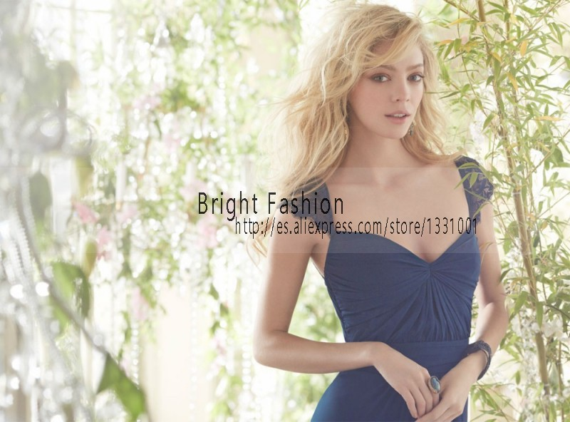 Aliexpress.com   Buy 2015 Dusty Blue Bridesmaid Dresses Chiffon Lace Cap  Sleeve Bridesmaid Dress For Party Over Women Gowns Vestidos De Madrinha  from ... 415b680233b2