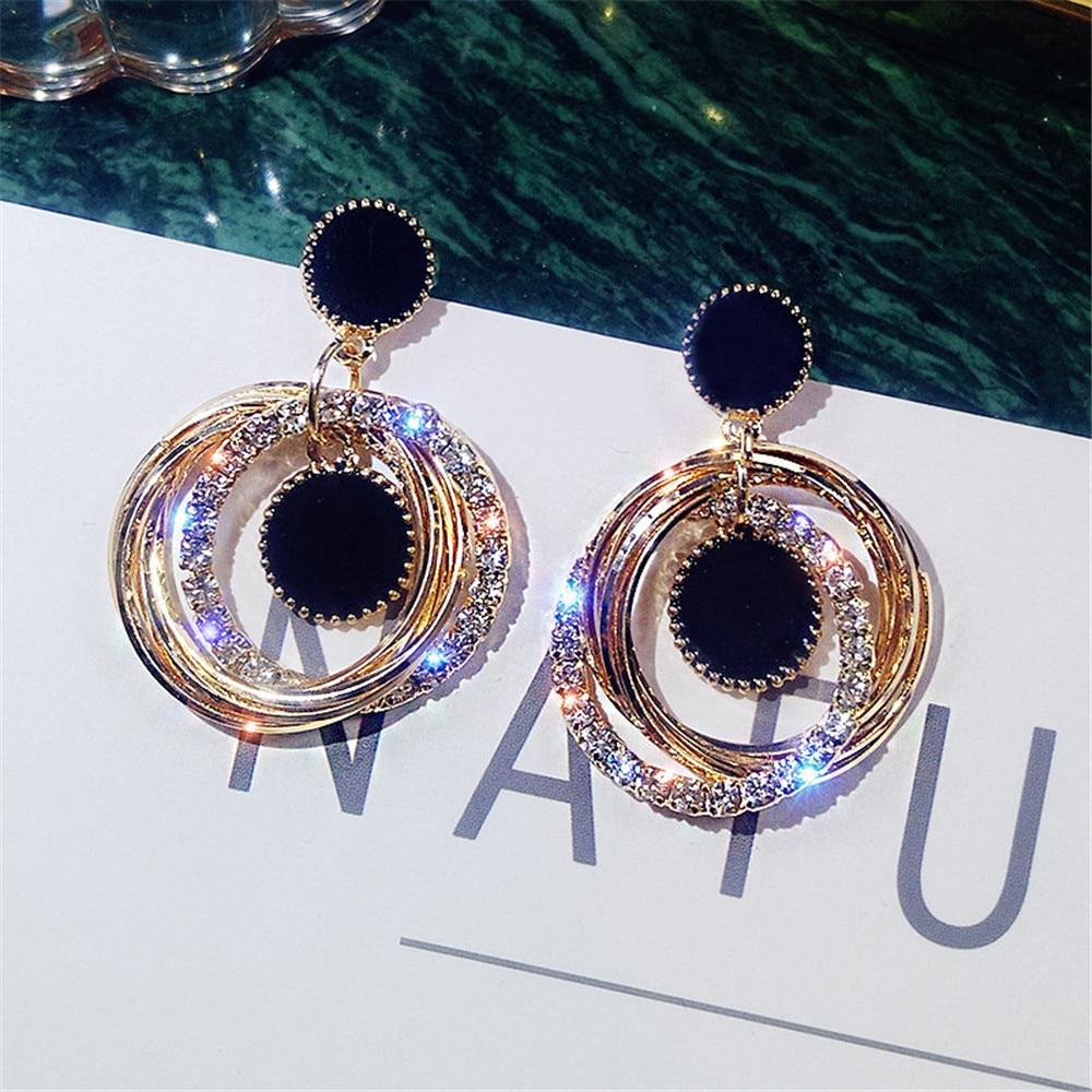ECODAY Korean Earrings Round Circle Crystal Resin Earings Pendientes Mujer Oorbellen Brincos Women Jewelry