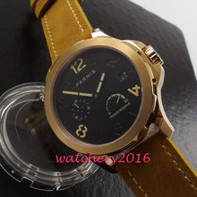 Fashion 44mm Parins black dial rose gold case mens watches top brand luxury power reserve automatic business Men's watch