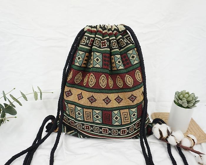 HTB1PTO4aHZnBKNjSZFKq6AGOVXaZ LilyHood Women Fabric Backpack Female Gypsy Bohemian Boho Chic Aztec Ibiza Tribal Ethnic Ibiza Brown Drawstring Rucksack Bags